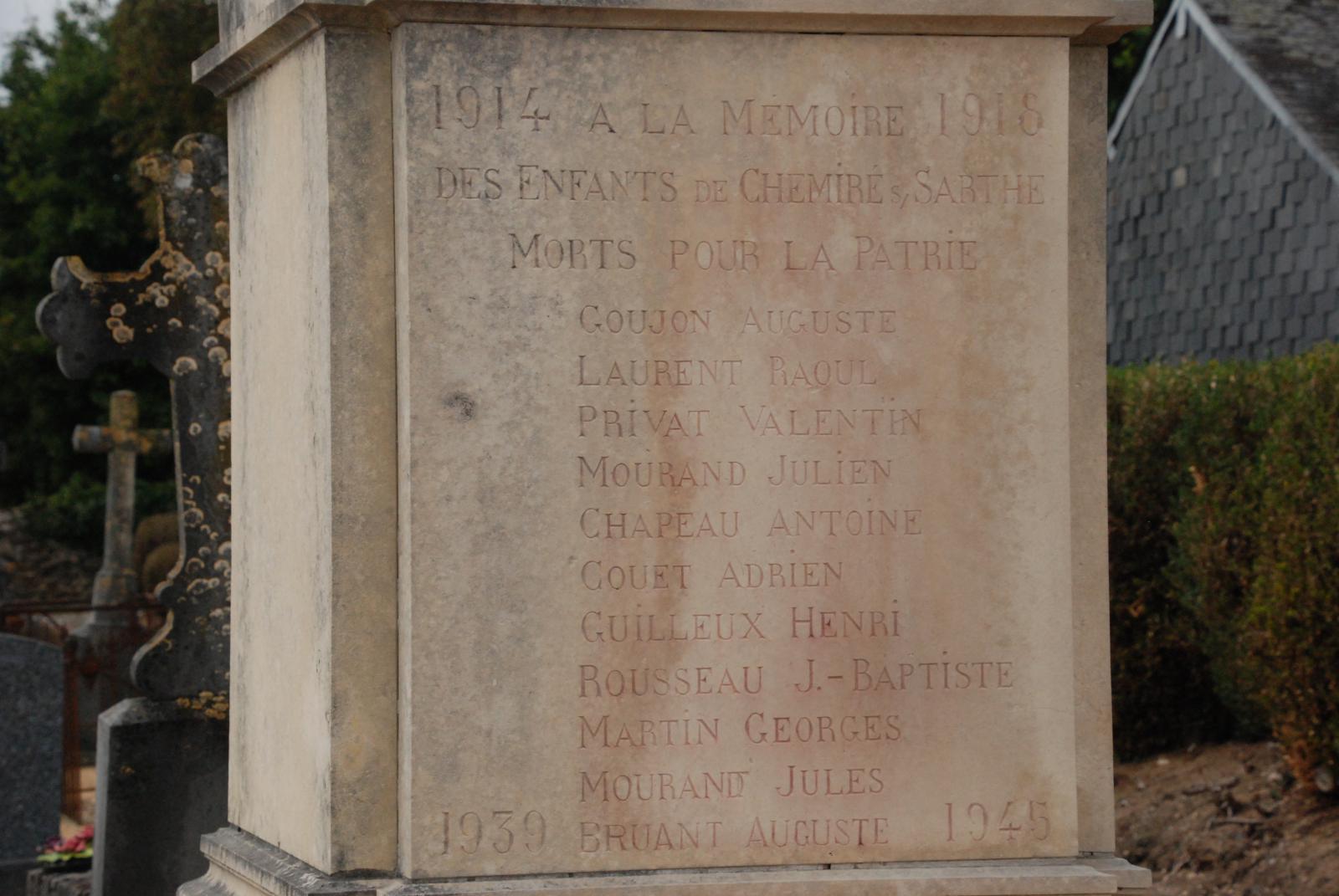Monument à Chemiré-sur-Sarthe | Les monuments aux morts